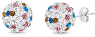 Lesa Michele Crystal Ball Stud Earrings