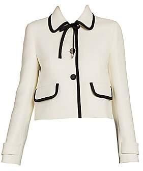 Prada Women's Bow-Trimmed Virgin Wool Jacket