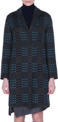 Akris St. Gallen Embroidered Wool-Silk Knee Length Coat