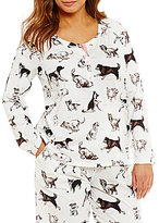 Sleep Sense Plus Dog-Print Henley Sleep Top