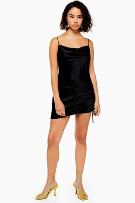 Topshop Womens Petite Black Ruched Mini Slip Dress - Black