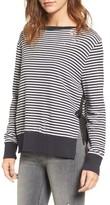 Pam & Gela Women's Stripe Side Slit Sweatshirt