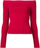 Oscar de la Renta off-shoulder crisscross open back jumper - women - Virgin Wool - XS