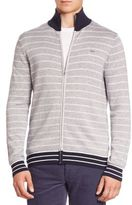 Lacoste Double-Face Chine Striped Zip-Front Cardigan