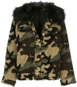 Jocelyn camouflage print teddy jacket