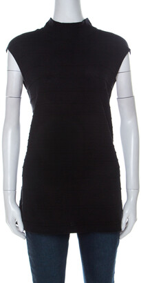 Escada Black Knit High Neck Sleeveless Top L