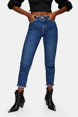 Topshop Womens Bright Indigo Mom Tapered Jeans - Indigo