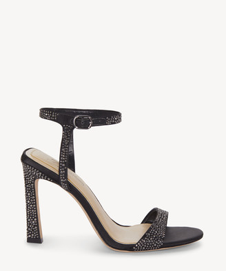 Imagine Vince Camuto Women's Reshi3 Rhinestone Heeled Sandals Black Size 5 DELUXE SATIN/NAPPA From Sole Society