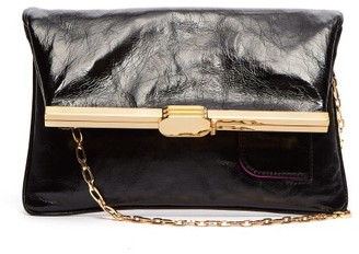 BIENEN-DAVIS Pm Fold-over Leather Clutch Bag - Womens - Black