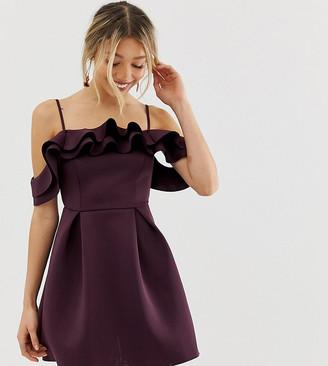 Asos DESIGN Petite Strappy Ruffle Scuba Prom Mini Dress-Purple