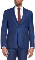gianfranco biaggi Navy Windowpane Wool Sport Coat