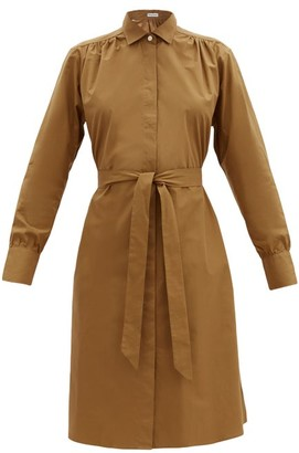 Officine Generale Virginie Waist-tie Cotton-poplin Shirt Dress - Camel