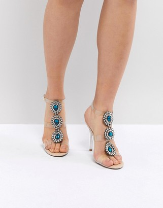 Betsey Johnson Blue By Blue By Betsy Johnson Sylvi Clear Embellished Heeled Wedding Sandals