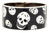 Alexander McQueen Wide Enamel Skull Bangle Bracelet