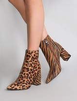 Public Desire Chaos Contrast Pointed Toe Ankle Boots and Tiger Print