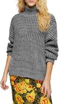 Topshop Directional Knit Funnel Neck Sweater