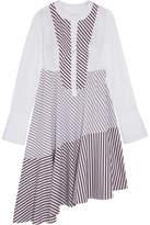 Carven Asymmetric Paneled Striped Cotton-poplin Midi Dress - White