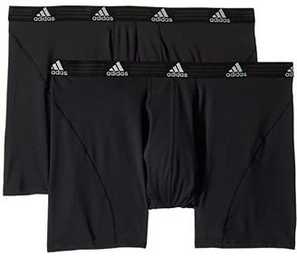 adidas Big Tall Sport Performance Climalite(r) 2-Pack Boxer Brief (Black/Black/Black/Black) Men's Underwear