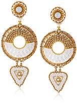 Miguel Ases Opalite and Swarovski Small Geometric Duo Drop Earrings