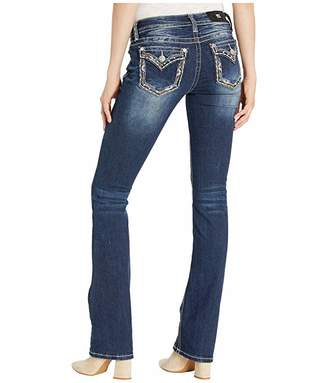 Miss Me Border Trim Chloe Slim Boot Jeans in Dark Blue