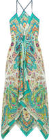 Etro Oahu Printed Silk-satin Maxi Dress - Turquoise