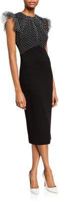 Derek Lam Jason Wu Collection Ruched Polka-Dot Lace Stretch Ponte Dress