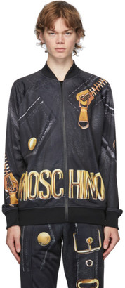 Moschino Black and Gold Leather Print Bomber Jacket