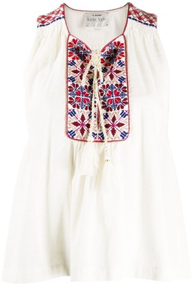 Forte Forte Embroidered Drawstring Sleeveless Blouse