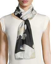 Vince Camuto X-Ray Blossom Oblong Scarf, Black/Brown