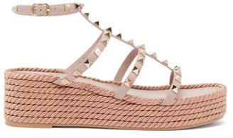 Valentino Torchon Rockstud Leather Platform Sandals - Nude