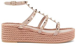 Valentino Torchon Rockstud Leather Wedge Sandals - Nude