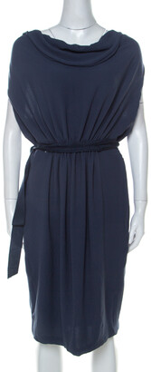 Lanvin Blue-Grey Crepe Gathered Waist Belted Draped Dress M