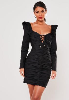 Missguided Black Poplin Ruched Lace Up Mini Dress