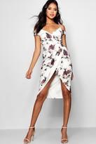 boohoo Open Shoulder Floral Wrap Midi Dress