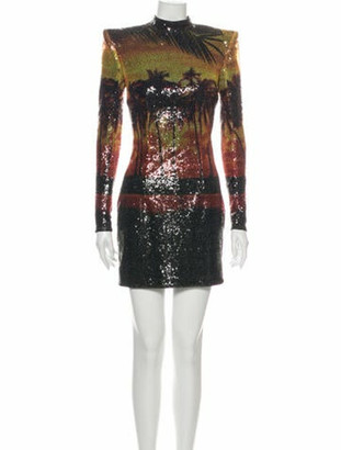 Balmain Printed Mini Dress Orange
