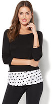 New York & Co. Hi-Lo Twofer Sweater - Heart Print
