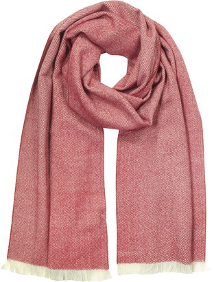 Mila Schon Red & White Herringbone Cashmere, Silk and Wool Blend Scarf