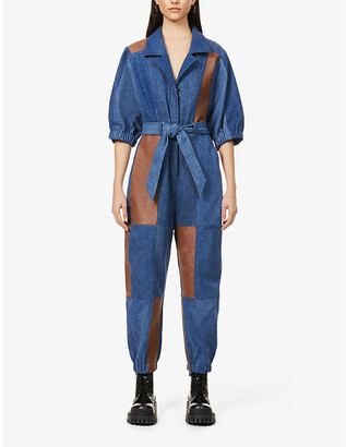 E.L.V. Denim x Hyundai Re:Style contrast-panel upcycled denim and leather jumpsuit
