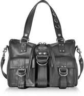 Moschino Black Leather Satchel Bag w/Shoulder Strap