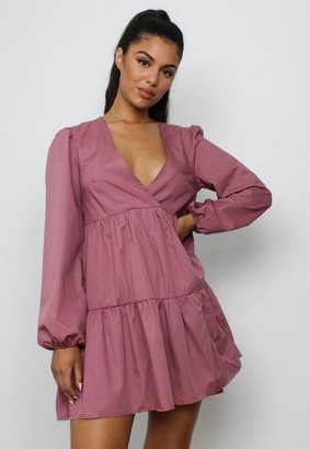 Missguided Blush V Neck Tiered Smock Dress