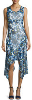 Fuzzi Sleeveless Printed Hanky-Hem Dress