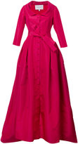 Carolina Herrera V neck neck solid faille gown - women - Silk - 2