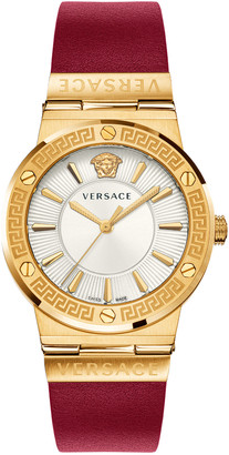 Versace Greca Logo Watch with Leather Strap, Yellow Gold/Red