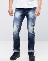 Juice Ripped Jeans with Patches in Slim Fit