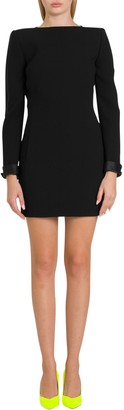 Saint Laurent Backless Dress In Double Sable With Back Bows