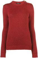 Balmain gold button shoulder jumper - women - Nylon/Mohair/Merino - 34