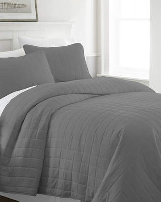 IENJOY HOME Square-Stitched 3-Piece Quilted Coverlet Set, Queen