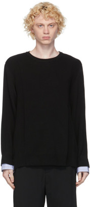 Juun.J Black Layered Crewneck Sweater