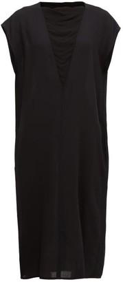 Ann Demeulemeester Crepe-insert Wool-twill Midi Dress - Black