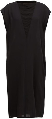 Ann Demeulemeester Crepe-insert Wool-twill Midi Dress - Womens - Black